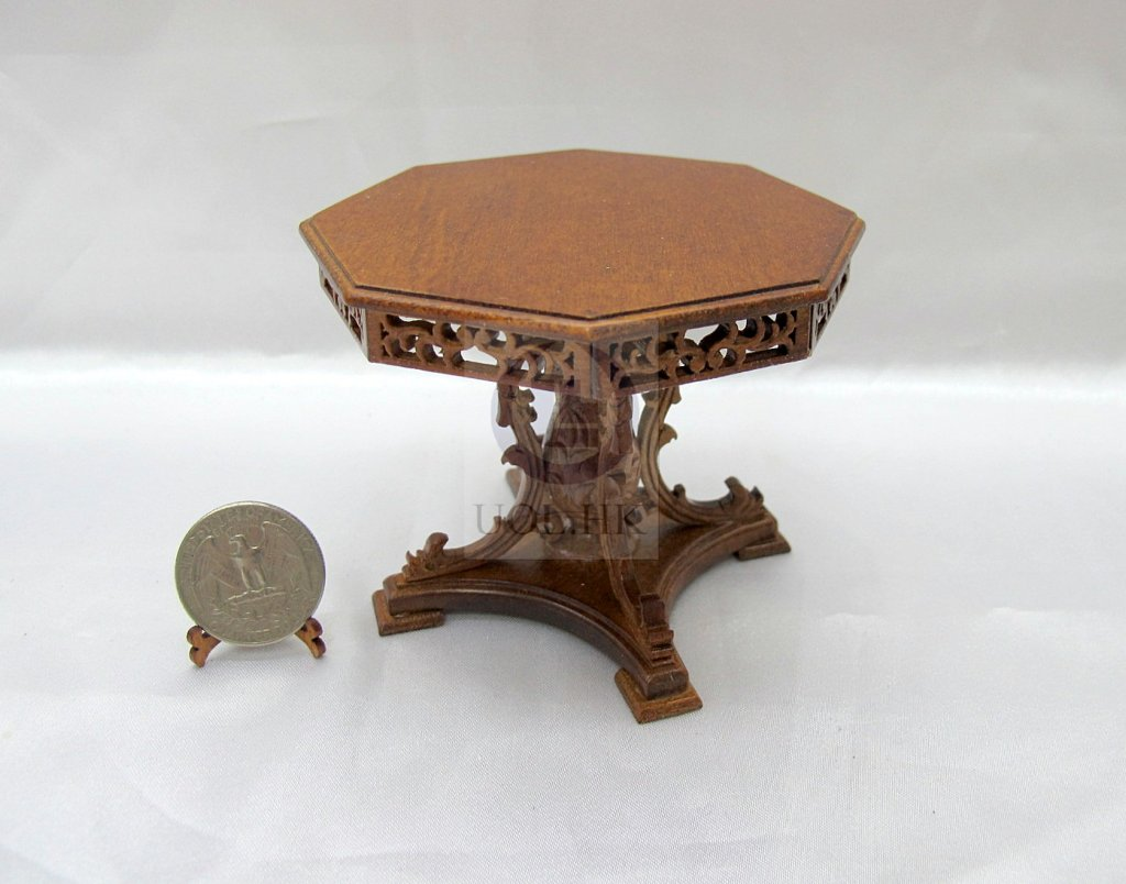 Miniature 1:12 Scale Grand Octagon Table [Finished In Walnut]