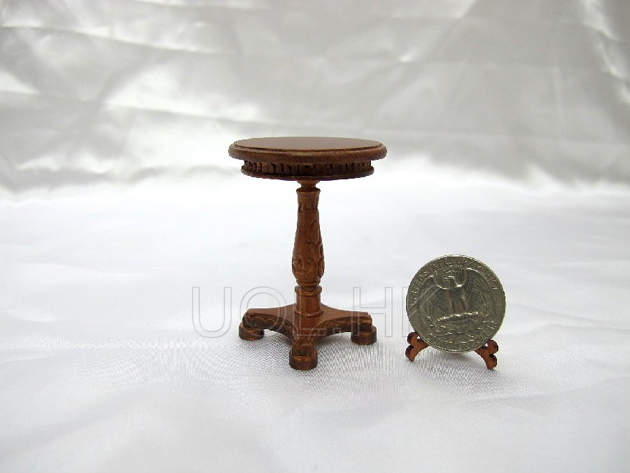 1:12 Scale  Doll House Circle End Table Finished In Walnut