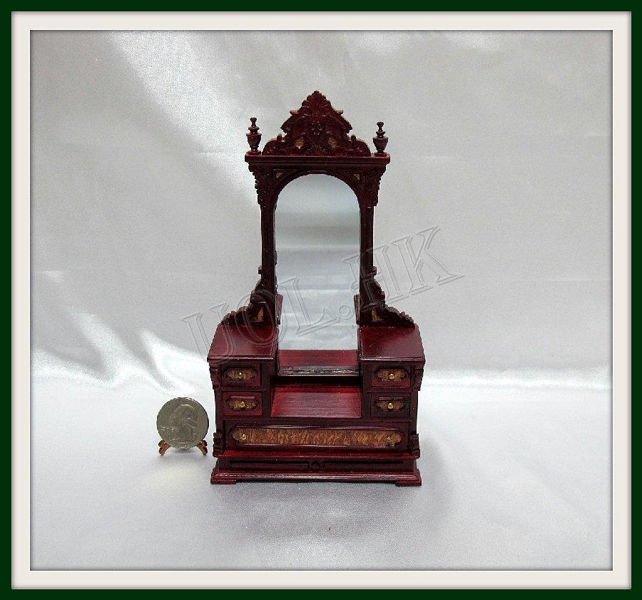 Mahogany Victorian Dressing Table For 1:12 Scale Dollhouse