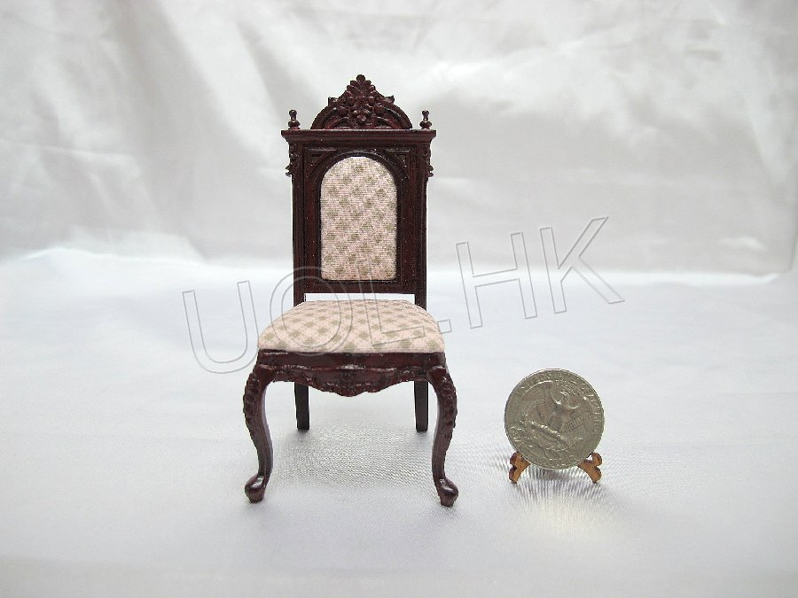 1:12 Scale Mahogany Victorian Chair For Doll House