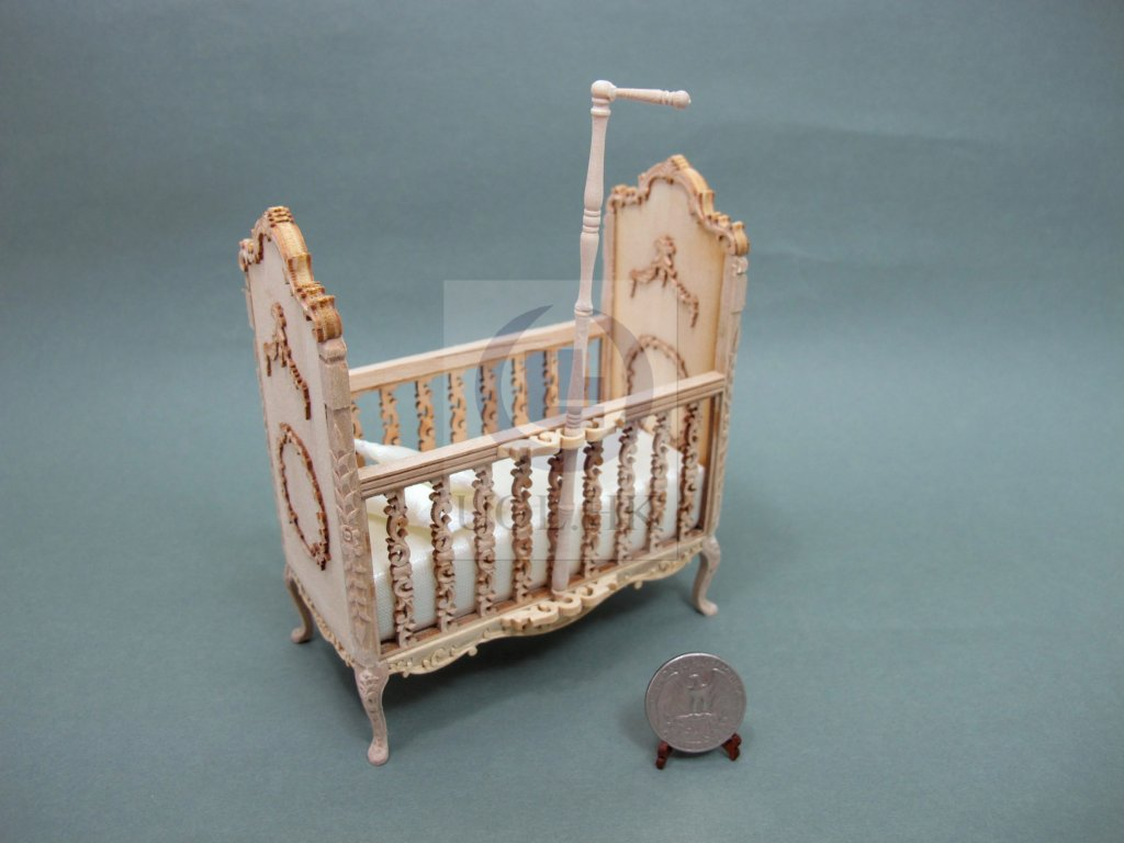 Miniaiture 1:12 Scale Doll House Wood Carved Crib [Unfinished]