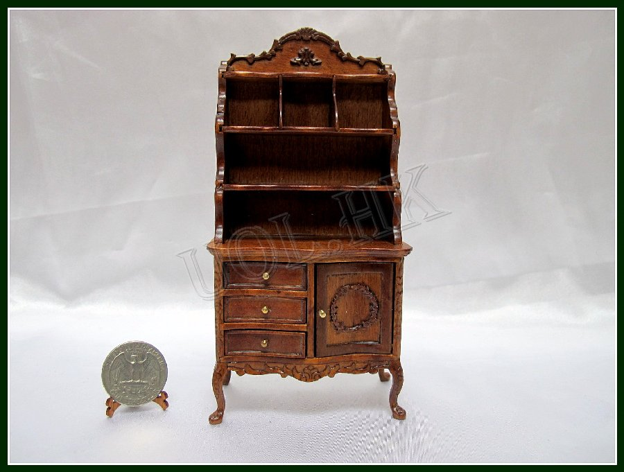 1:12 Scale Doll House Carved High Cabinet-Wn
