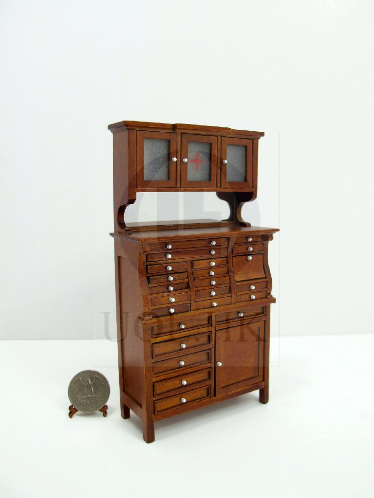 "Miniature 1""Scale Old Style Medical Cabinet For Doll House"