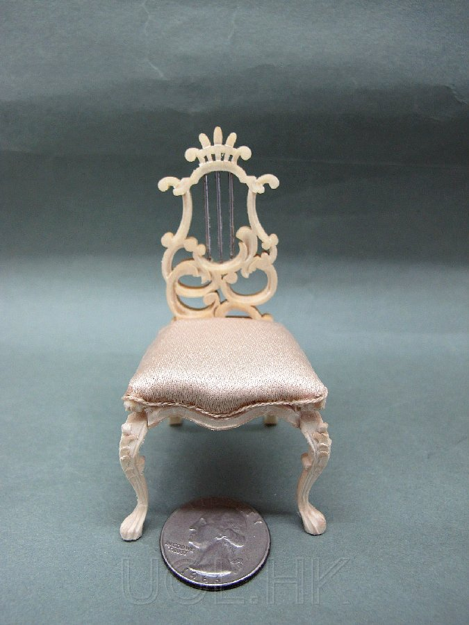 1:12 Scale Miniature Doll House Fantasy Lyre Stool-Unpainted