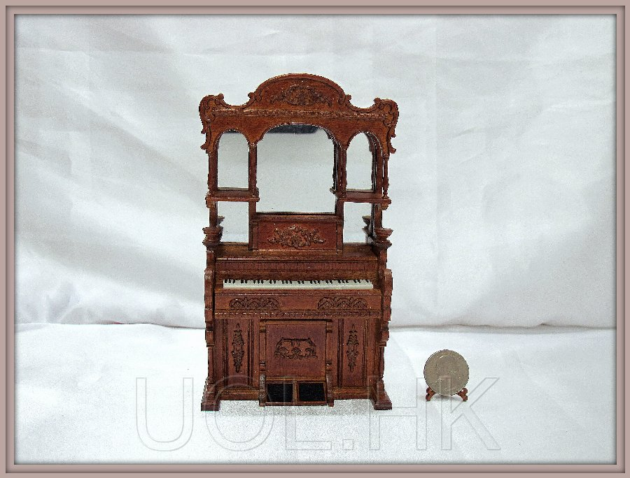 1:12 Scale Doll House Pump Organ-Walnut
