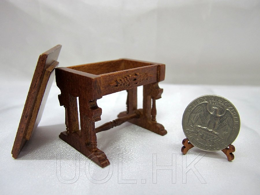 1:12 Scale Doll House Pump Organ Stool-Walnut
