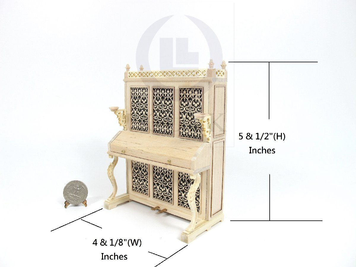 Miniature 1:12 Scale Victorian Upright Piano For Doll House [UF]