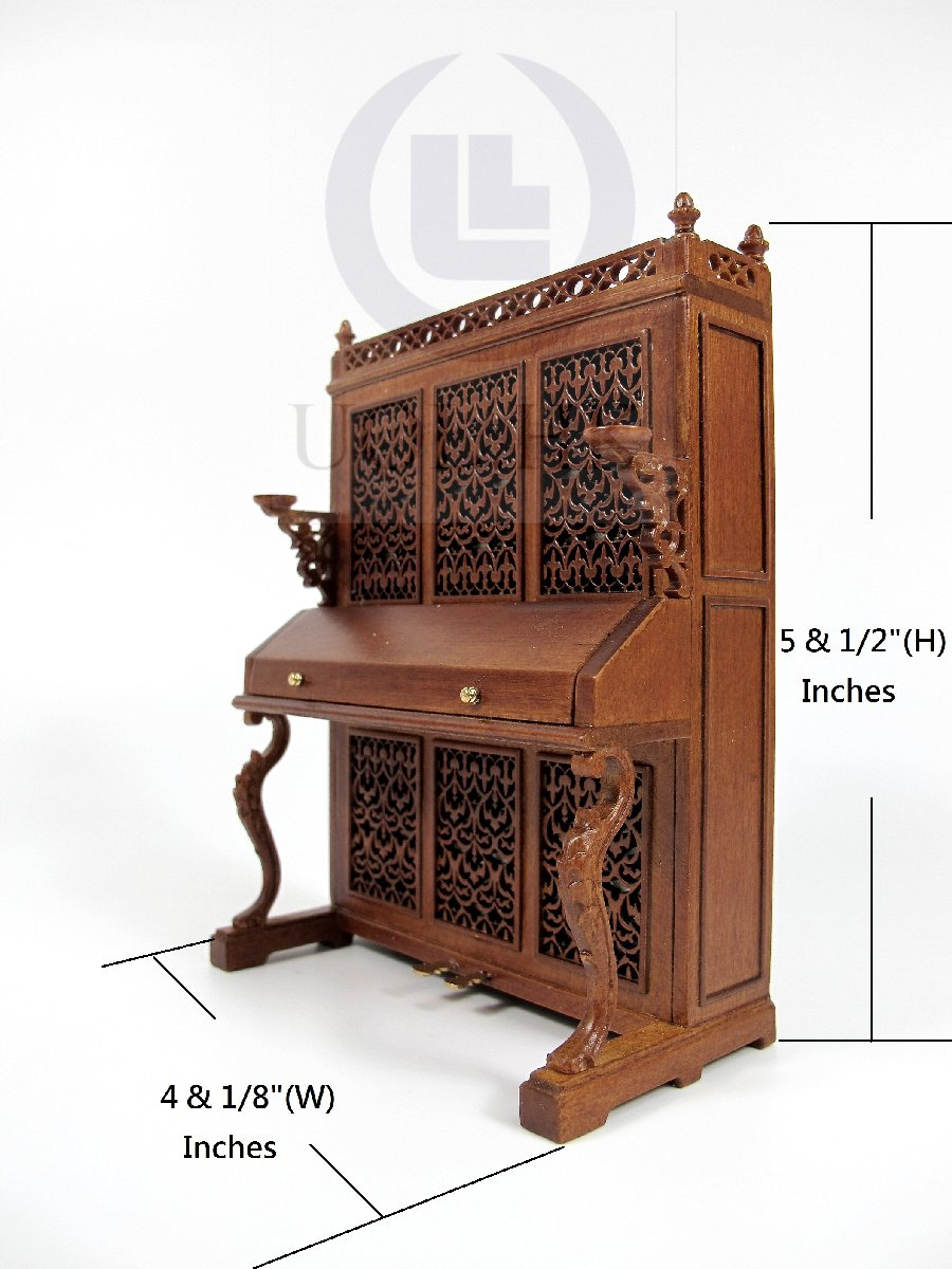 Miniature 1:12 Scale Victorian Upright Piano For Doll House [WN]