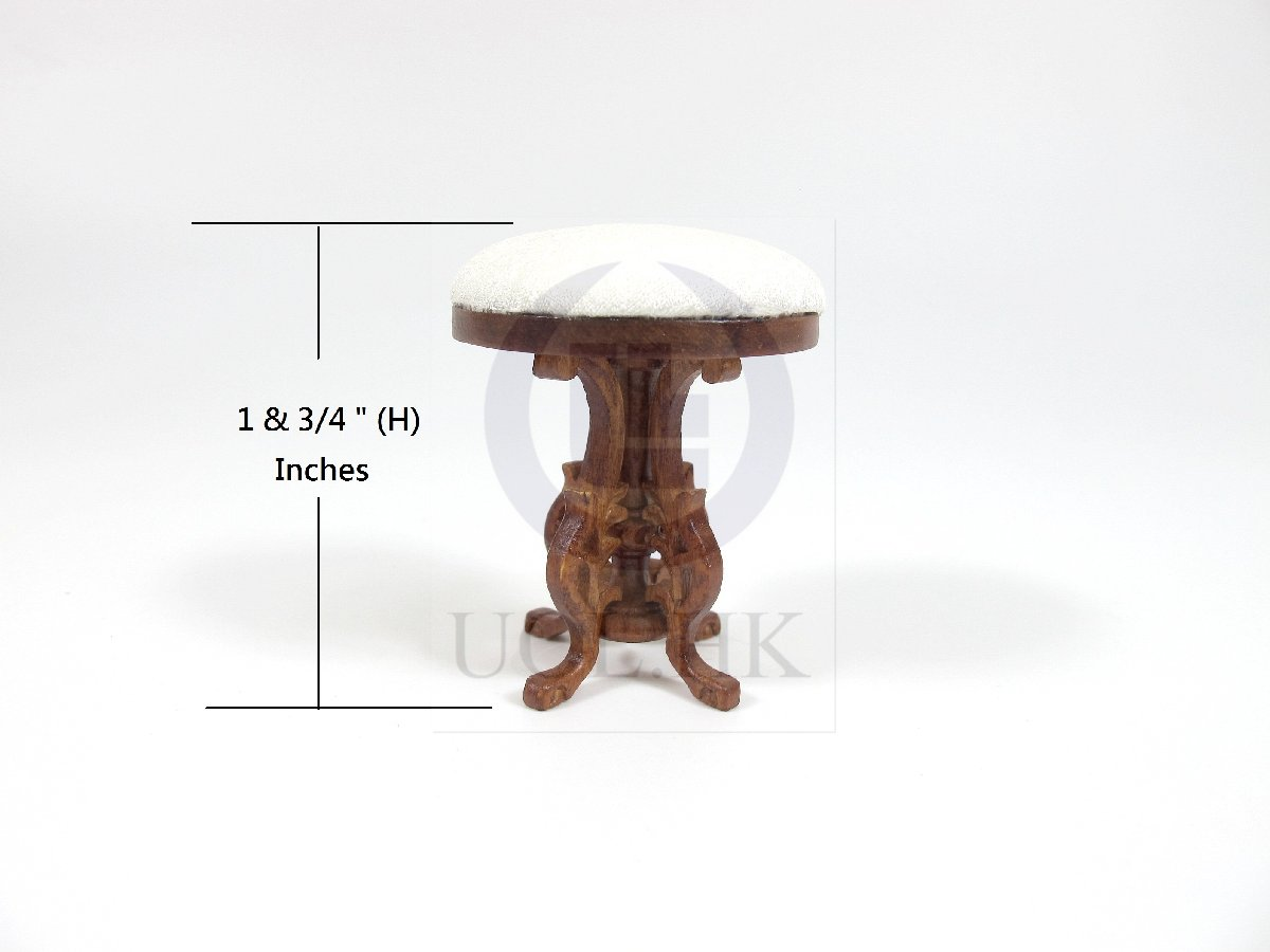 Miniature 1:12 Scale Upright Piano Stool For Doll House [WN]