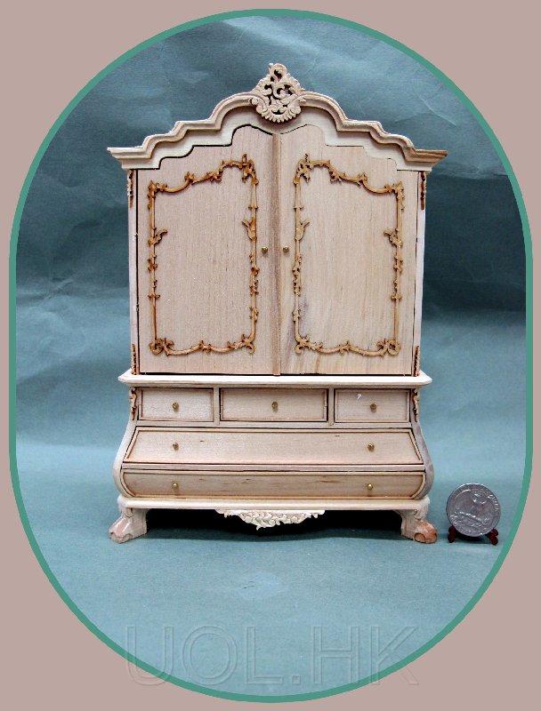 1:12 Scale Miniature Vanderveet Desk/Baby House--unfinished