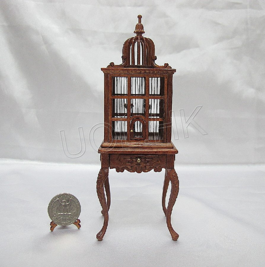 1:12 Scale birdcage with table for doll house --(4birds inside)