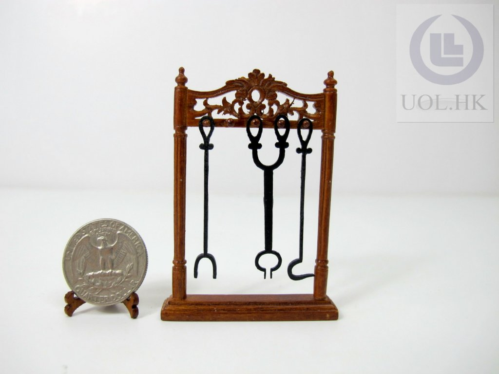 1:12 Scale Miniature Fireplace Accessory Stand With 3 Tools[WN]