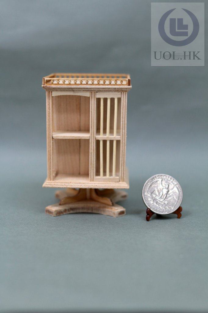 1:12 Scale Gallery Bookcase With Stand For Doll House-Unfinished