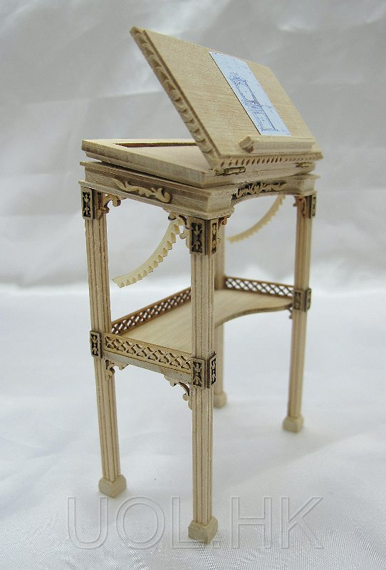 "Miniature 1""Scale High Drawing Desk For Doll House [Unfinished]"