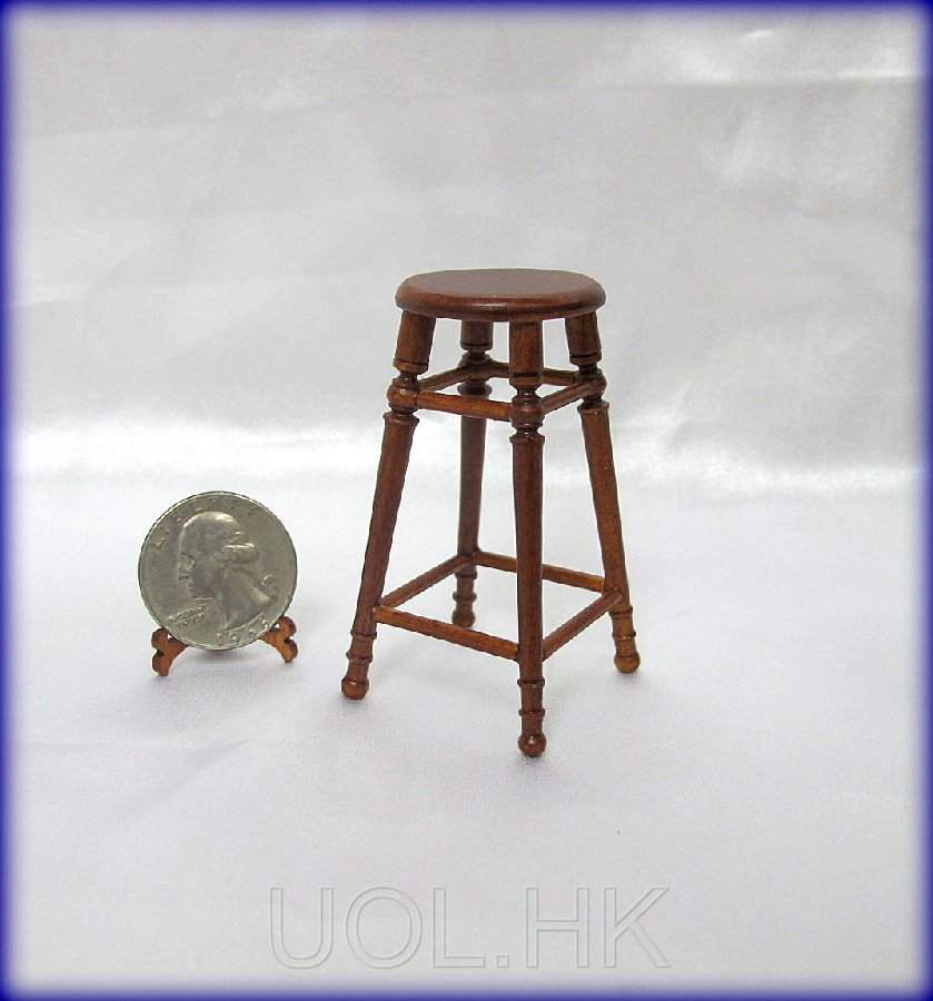1:12 Scale Miniature Walnut Stool
