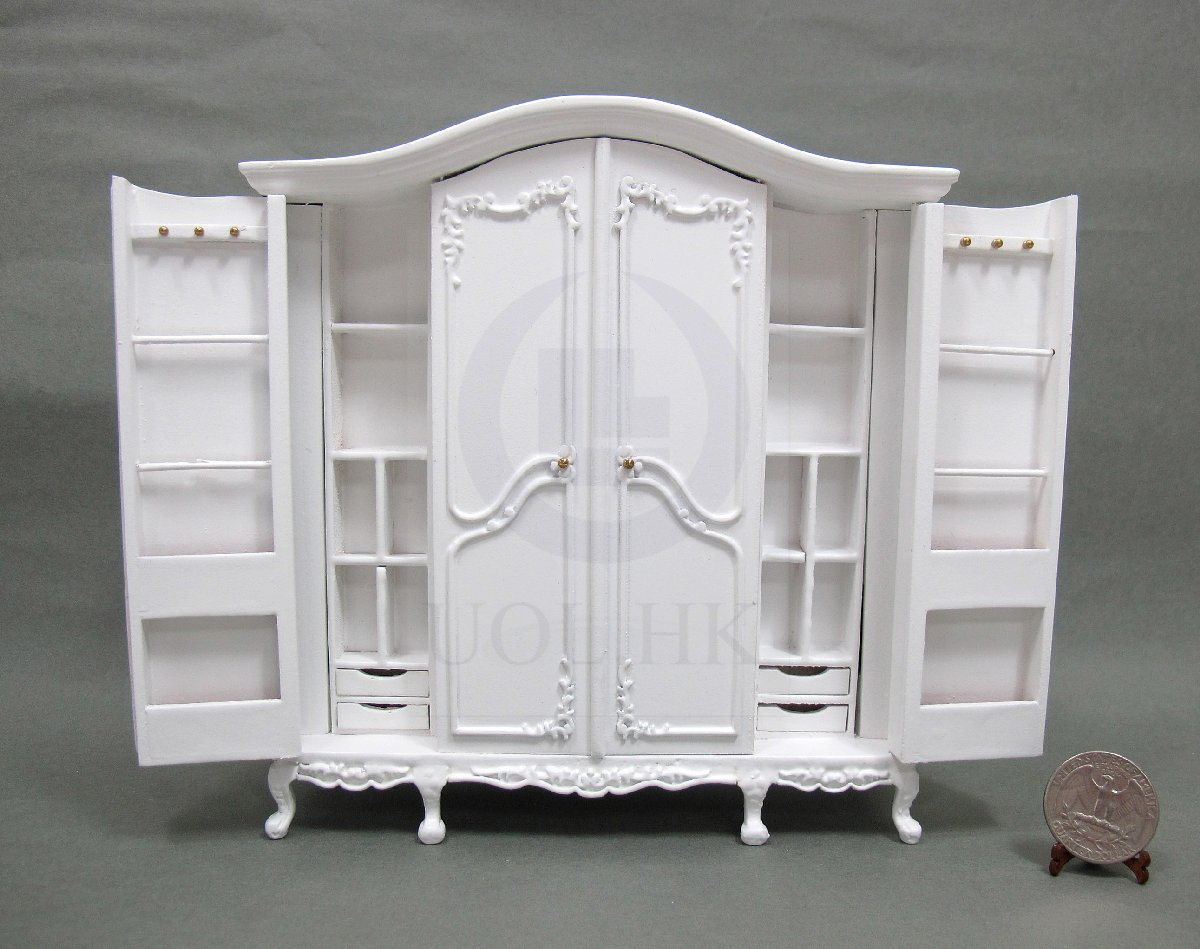1:12 Scale Doll House 6 Doors Big Wardrobe[Finished in white]