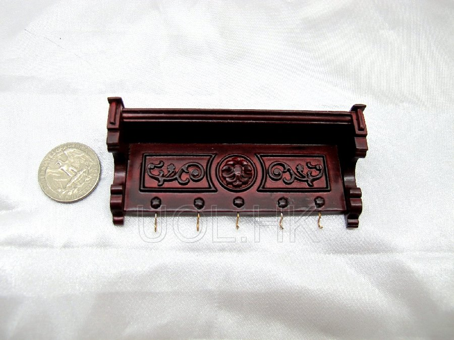 Wood Carved 1:12 Scale Miniature Wall Shelf Wall Rack (MH)