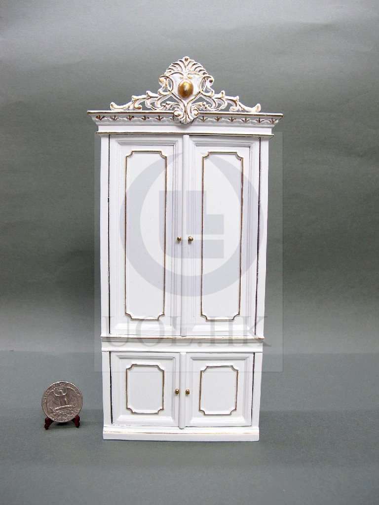 "1""Scale Miniature White Cabinet/Clothespress For Doll House"