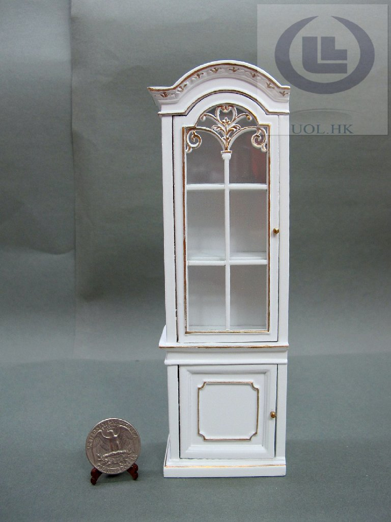 "1""Scale Miniature Left Open White Display Cabinet For Doll House"