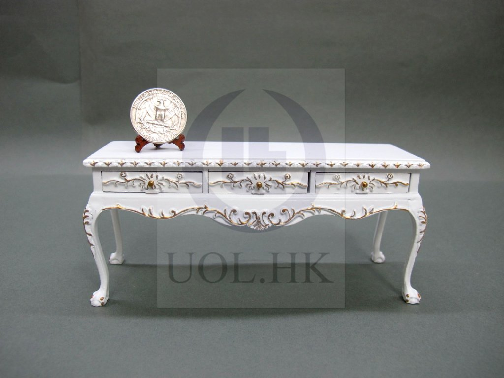 "1""Scale Miniature White Display Table For Doll House"