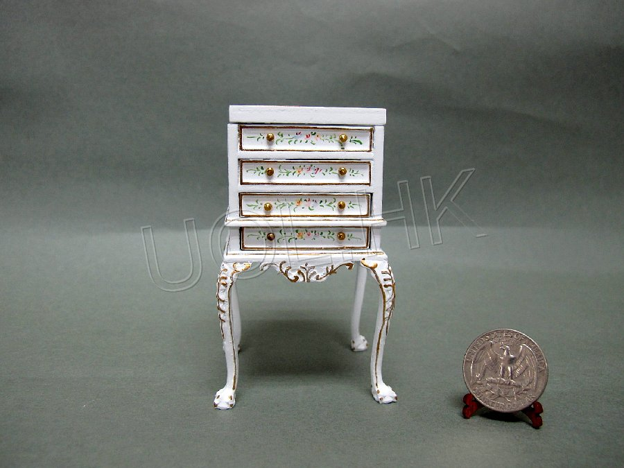 1:12 Scale White High Body Jewelry box /Sewing Box for dollhouse