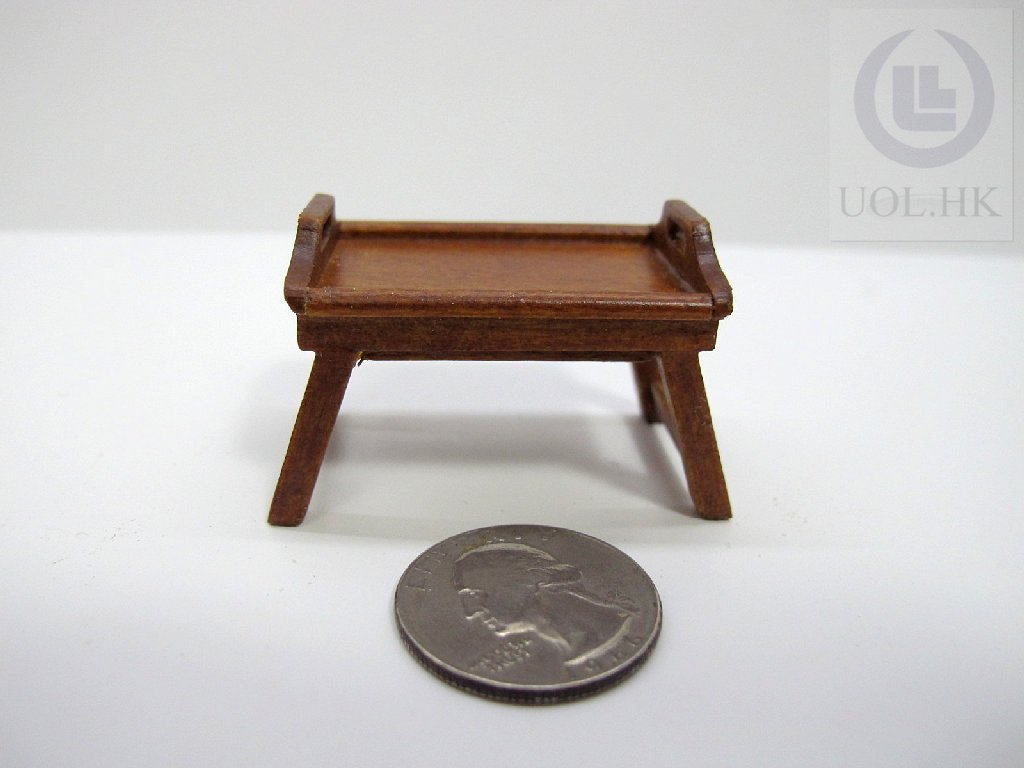 Miniature 1:12 Scale Doll House Bed Tray [Finished In Walnut]