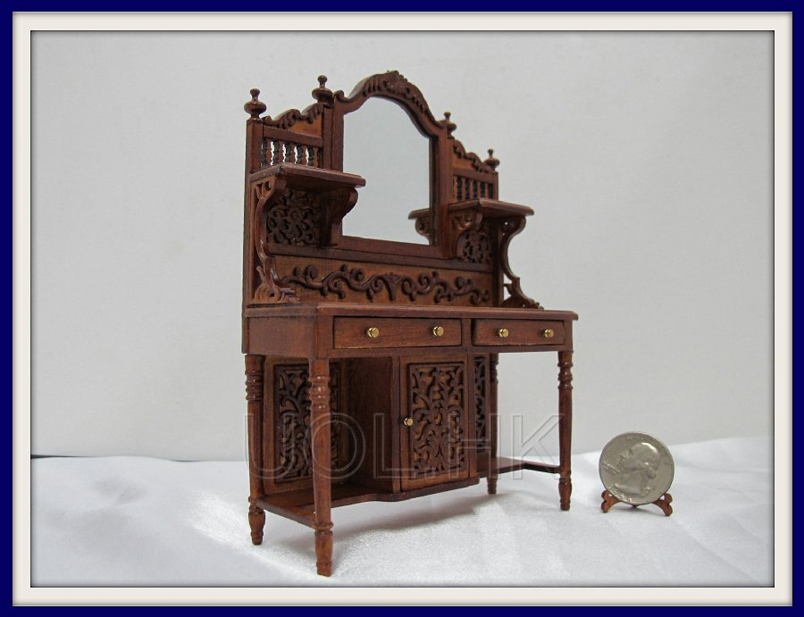 "1"" Scale Doll House Carved Sideboard-WN"