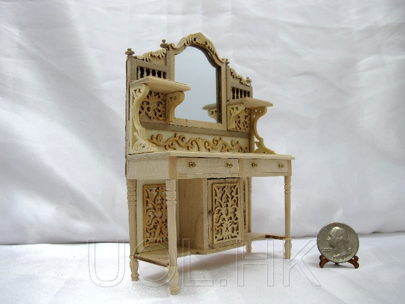 1:12 Scale Miniature Doll House Carved Sideboard-Unpainted