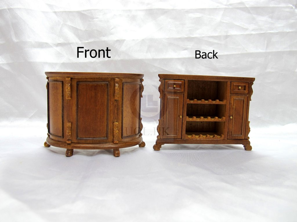 "Miniature 1"" Scale Home Bar For Doll House [Finished in walnut]"