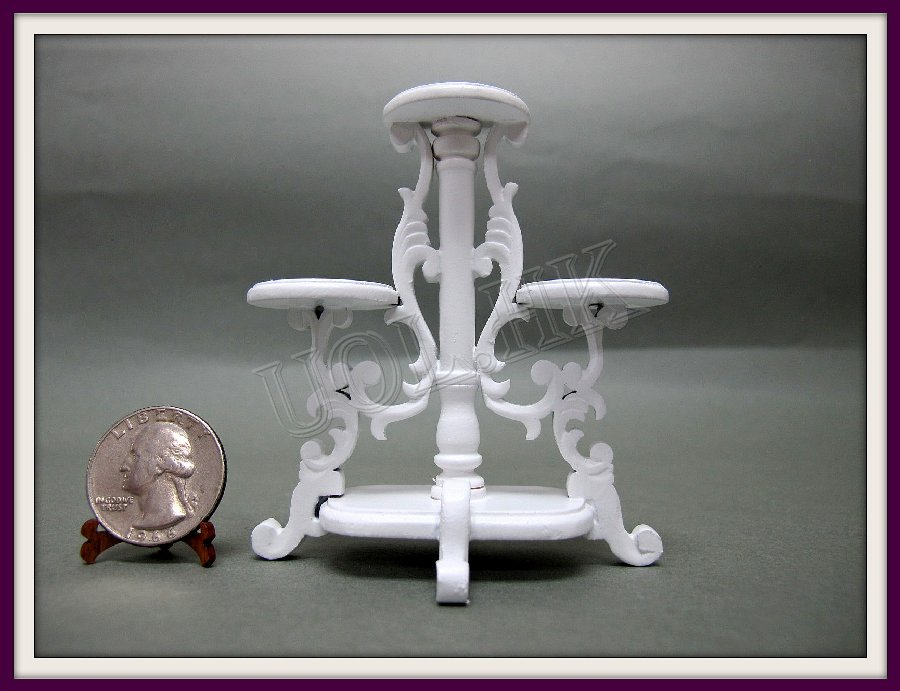 1:12 Scale Doll House White Carved Plant Stand