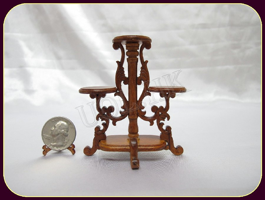 1:12 Scale Doll House Walnut Carved Plant Stand