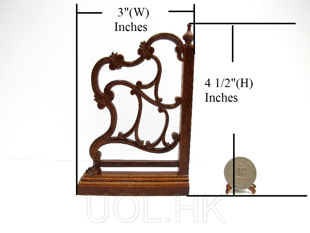 Wood Carved 1:12 Scale Miniature Room Divider For Doll house