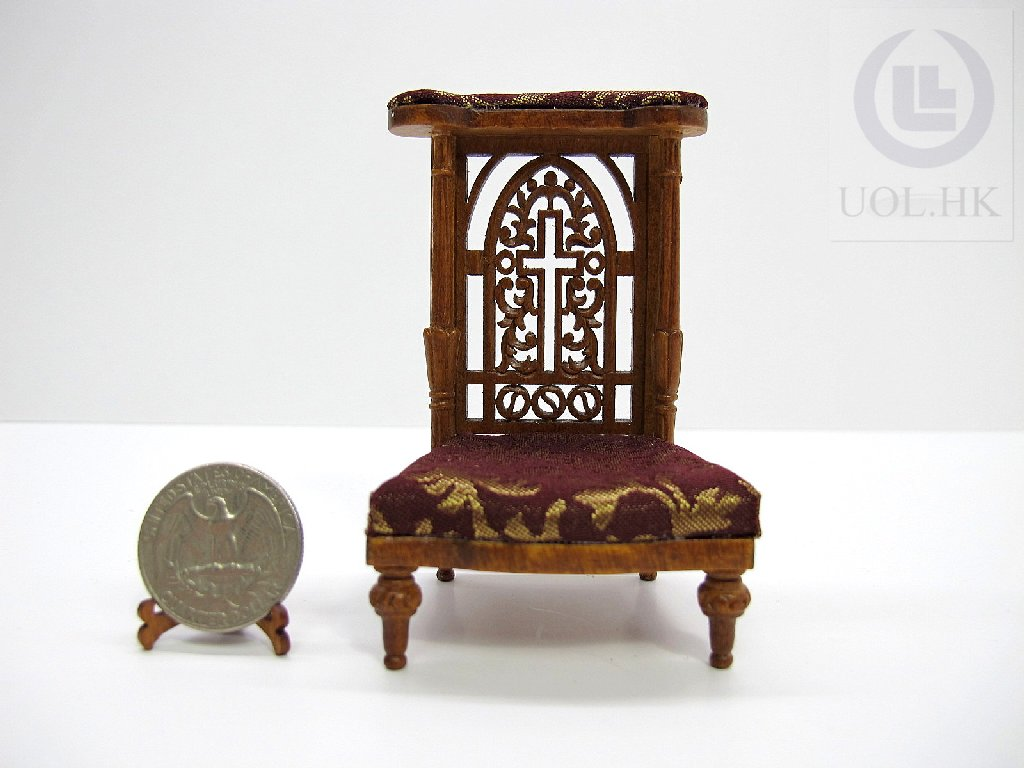 1:12 Scale Miniature Prayer Kneeler For Doll House-Walnut