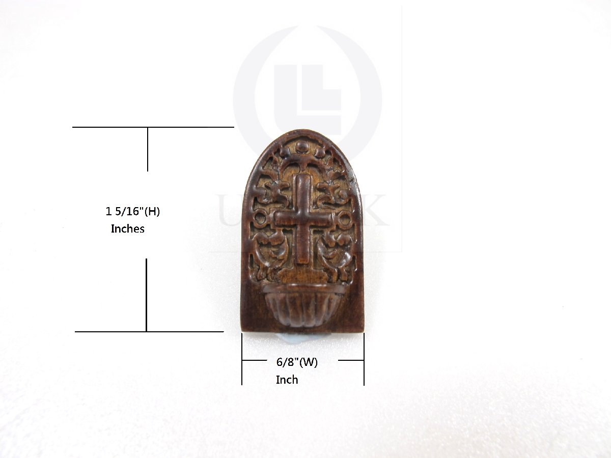 Miniature 1:12 Scale Holy Water Font For Doll House[Dark Walnut]