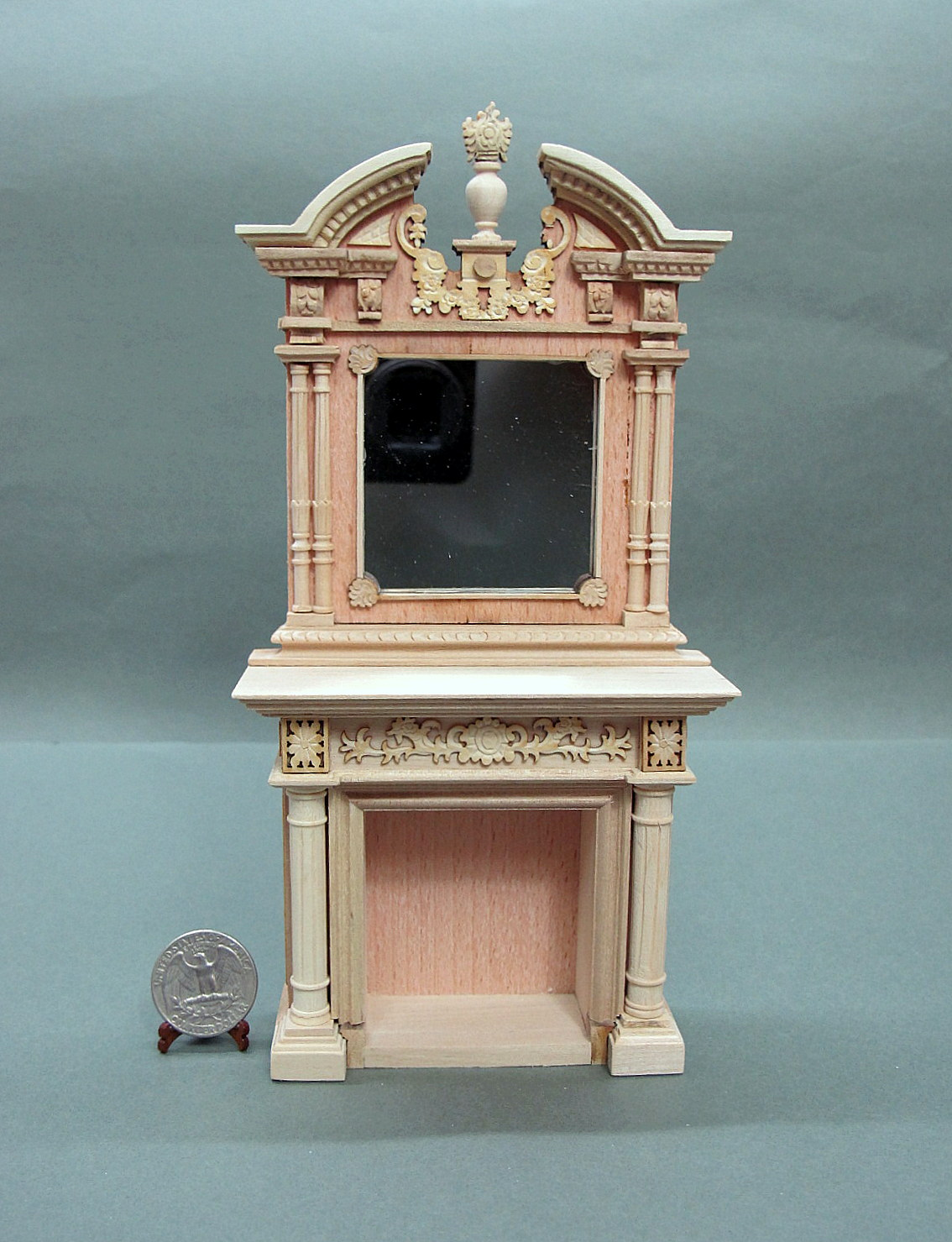 1:12 Scale Unpainted Napoleon Fireplace For Doll House