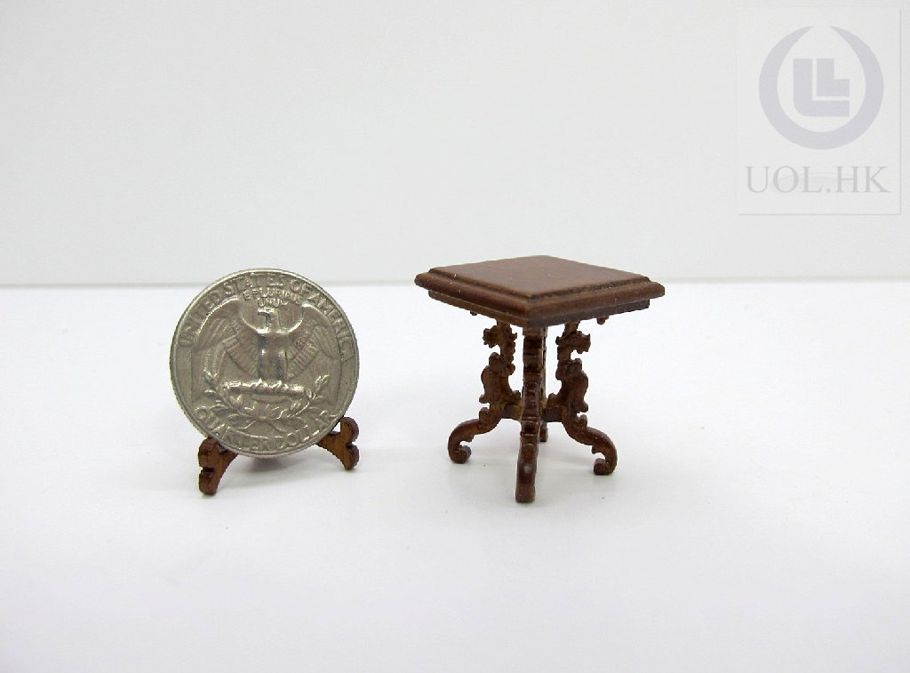 Miniature 1:24 Scale End Table Finished In Walnut