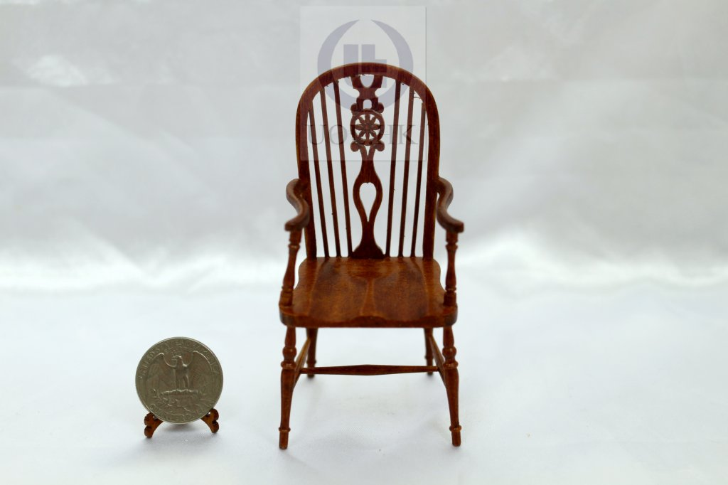 Doll House 1:12 Scale Miniature Wheel Back Windsor Arm Chair[WN]