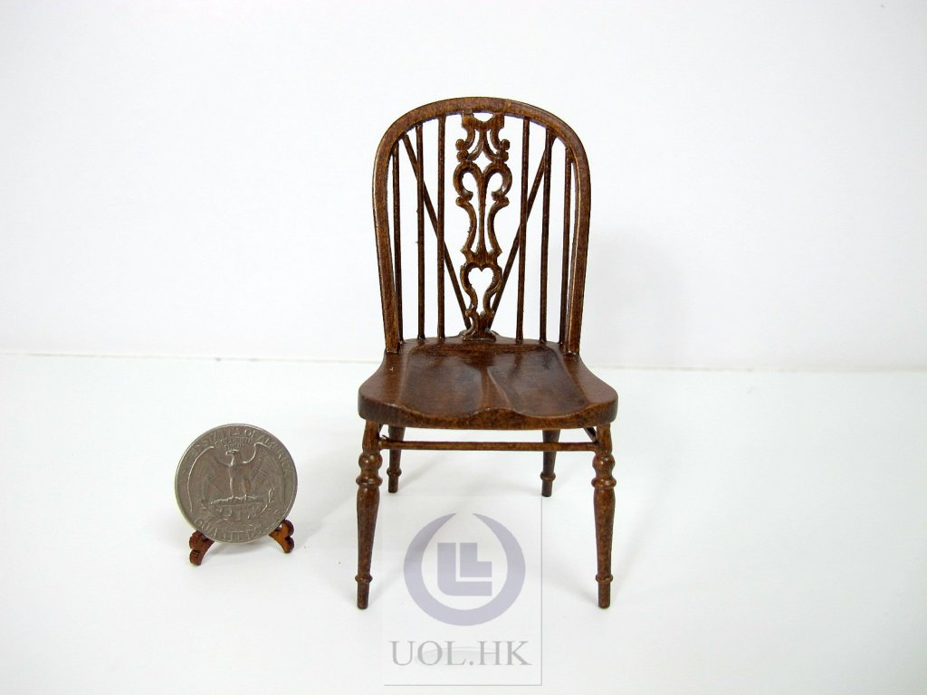 1:12 Scale Miniature Windsor Side Chair[Finished in dark walnut]