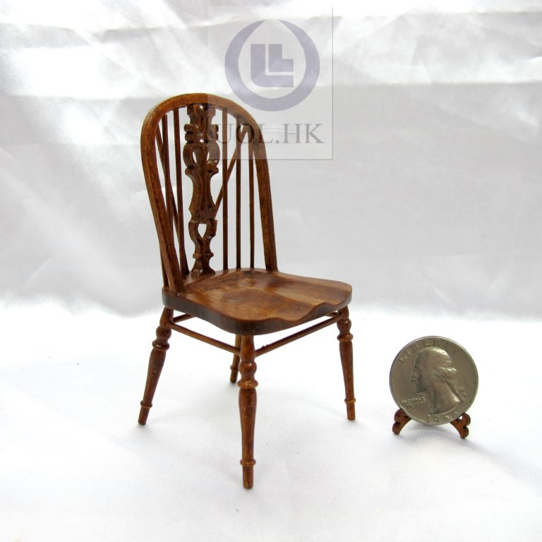 1:12 Scale Miniature Windsor Side Chair[Finished in walnut]