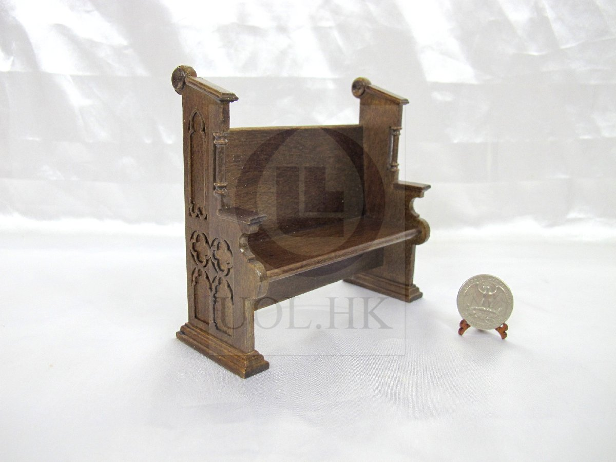 1:12Scale Miniature Church Pew For Doll House [Dark Walnut]