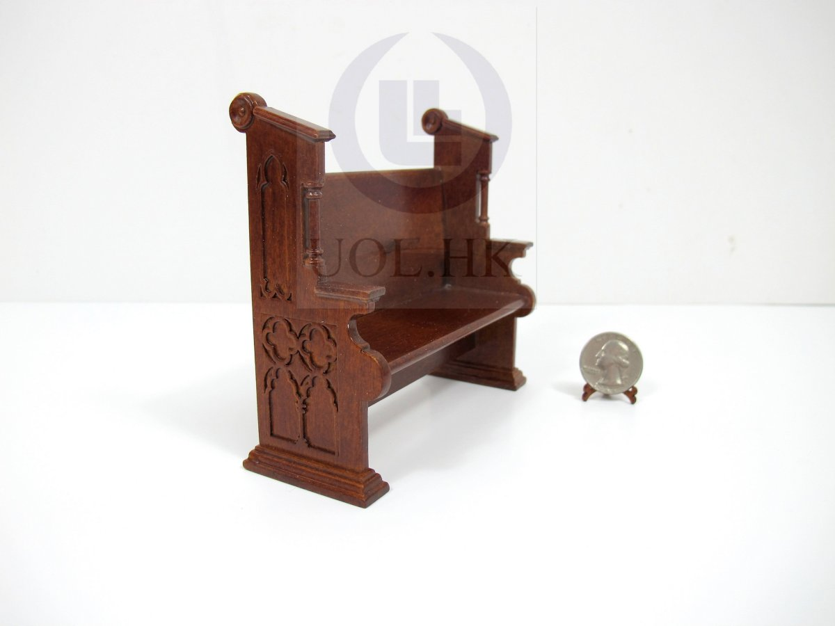 1:12Scale Miniature Church Pew For Doll House-Finished in walnut