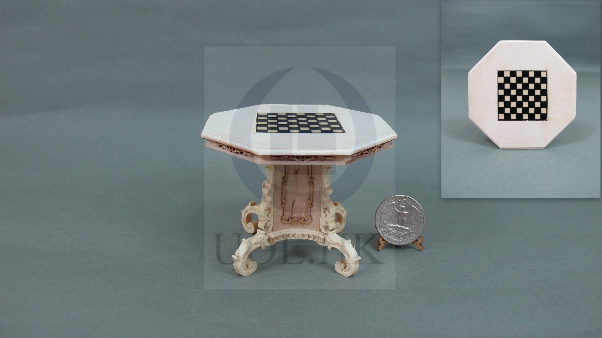 1:12 Scale Mid-Victorian Chess Table For Doll House [Unfinished]