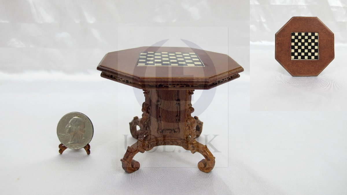 1:12 Scale Mid-Victorian Chess Table For Doll House [WN]