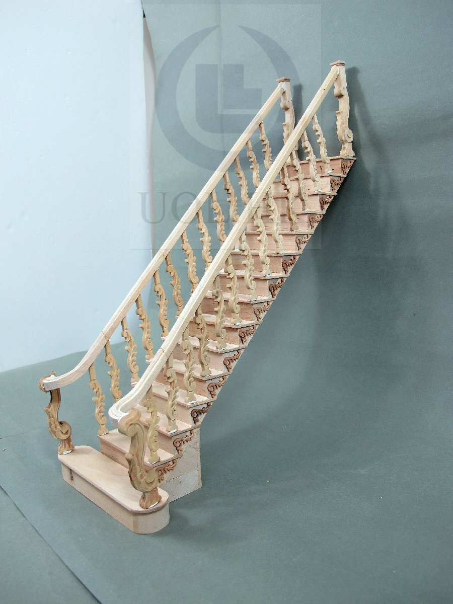 Miniature 1:12 Scale Unfinished Grand Wooden Staircase