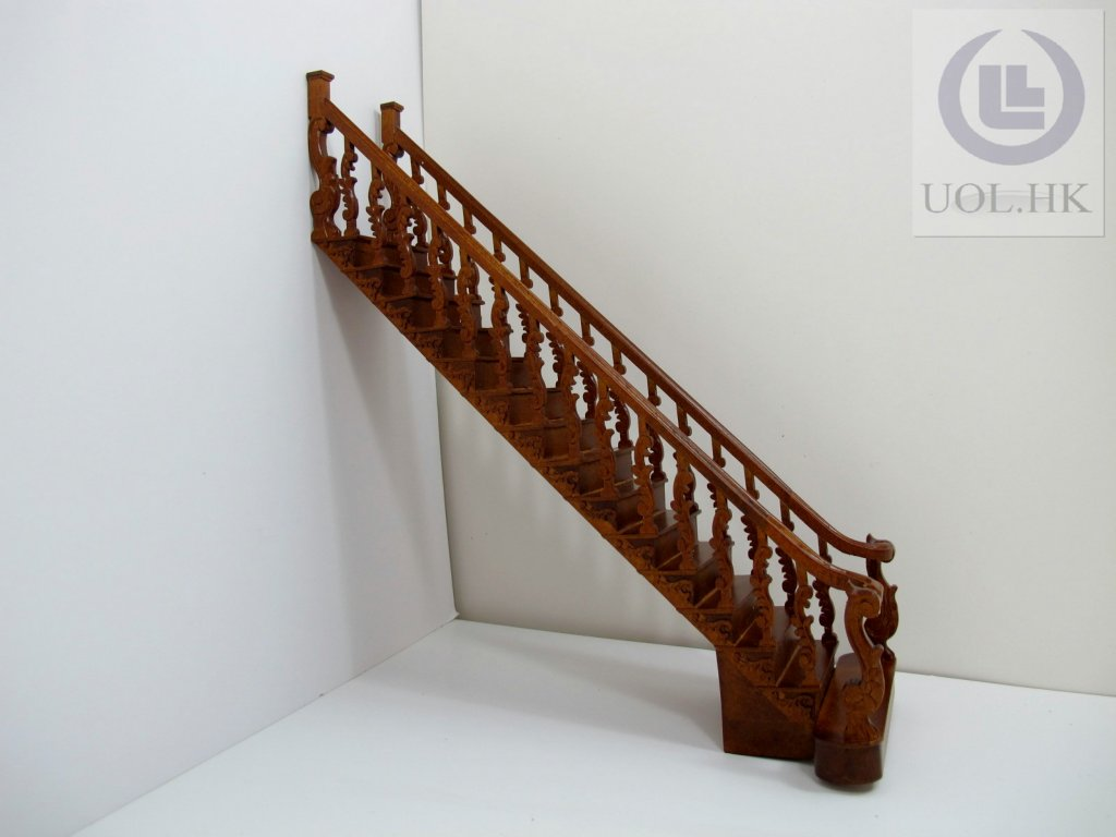 "Miniature 1""Scale Grand Wooden Staircase [Self Assembled]"