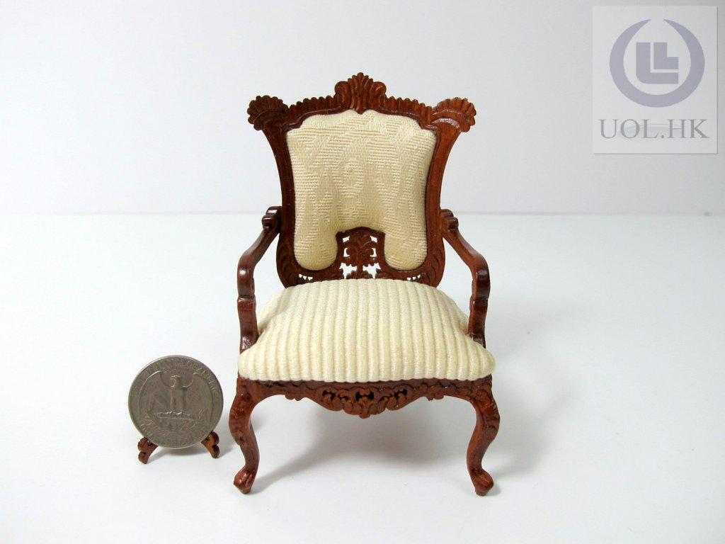Wood carving miniature 1:12 scale France arm chair