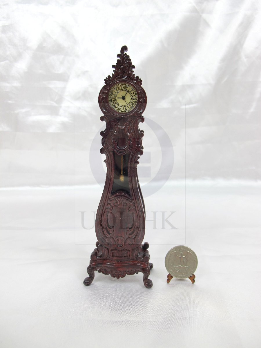 "Dollhouse 1""Scale Luxury Classical French Grandfather Clock-MH"