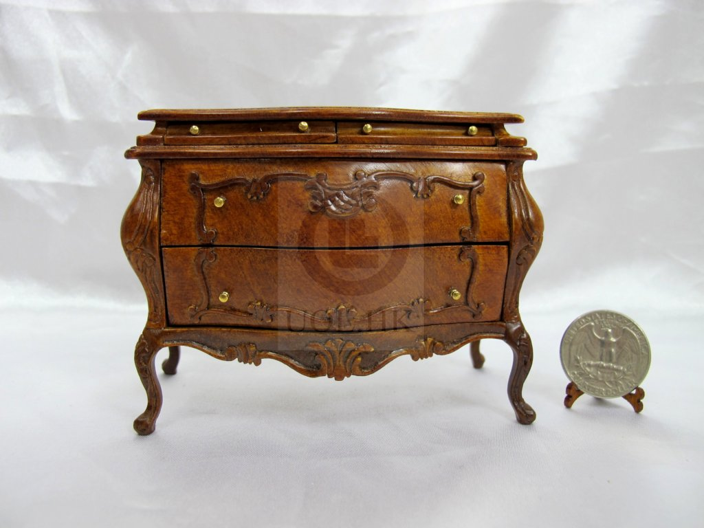 "Miniature 1:12 Scale The ""Escala"" Bombay Chest [Walnut]"