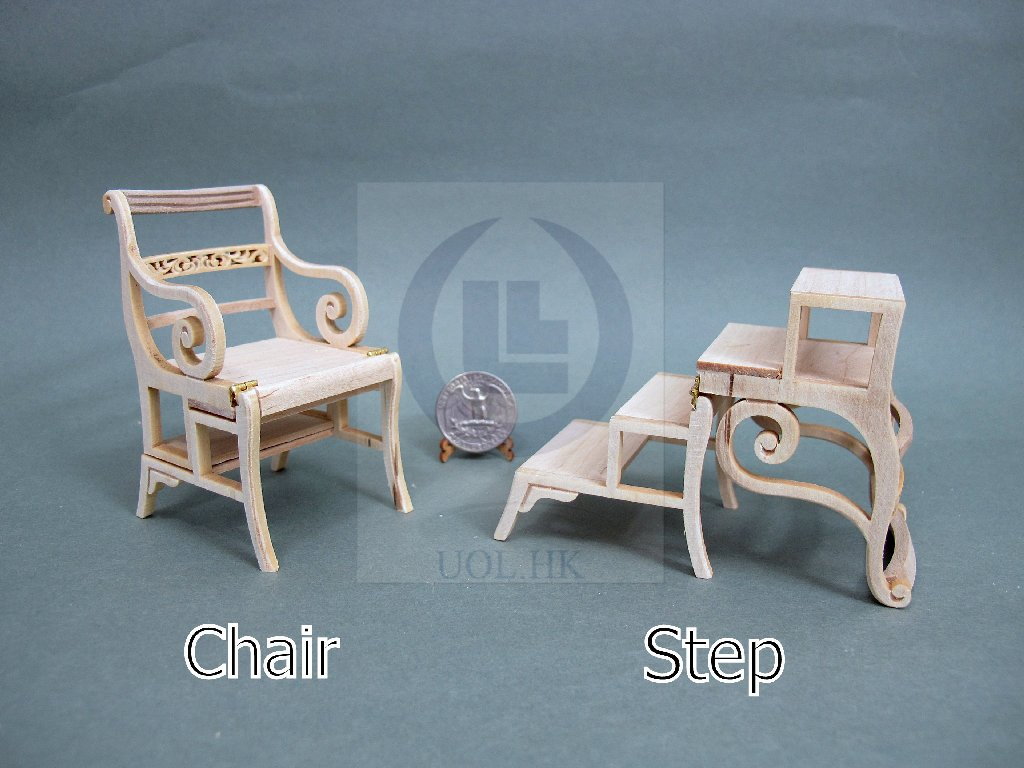 Miniature 1:12 Scale Doll House Library Steps Chair [Unpainted]