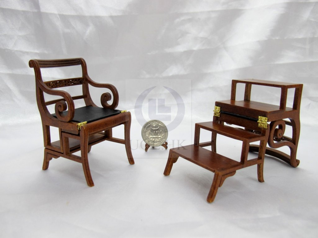 Miniature 1:12 Scale Library Steps Chair [Finished in walnut]